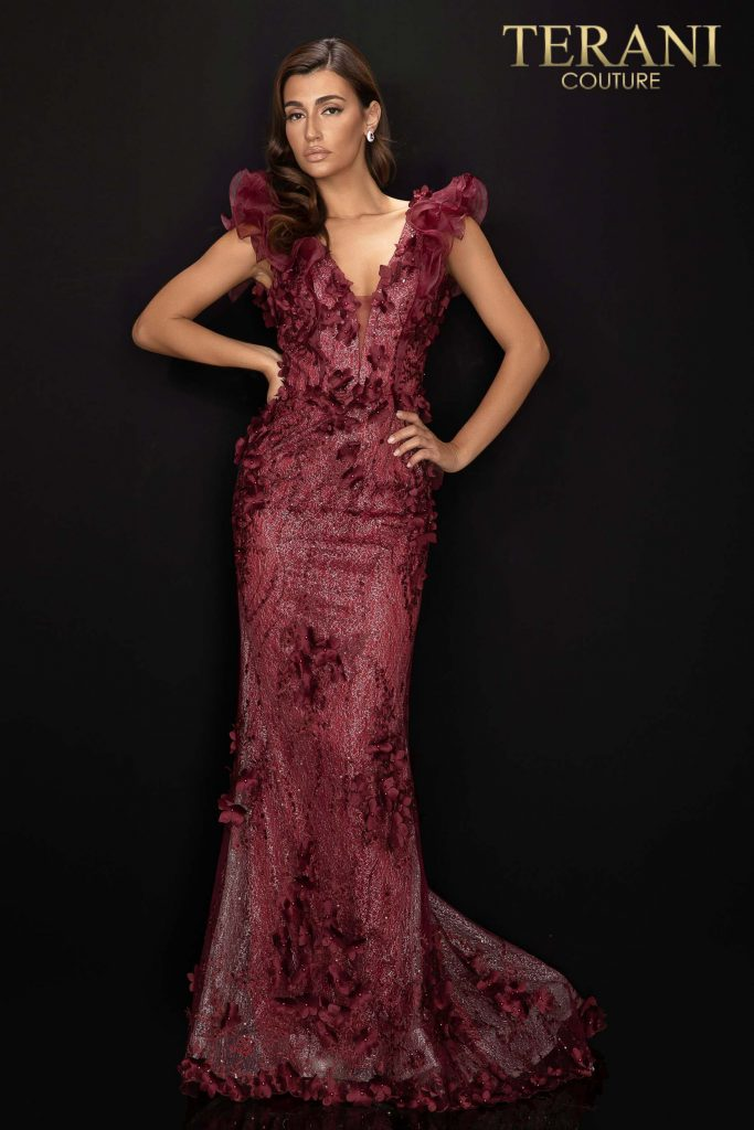 Style: Organza shoulder detailed evening dress with 3D flowers – 2011E2060