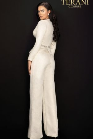 Elegant Jacquard jumpsuit with beaded waistline – 2011E2063
