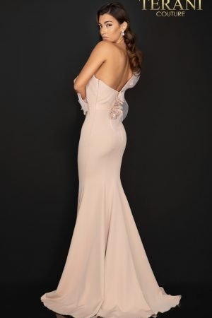 One shoulder Satin evening gown with 3D flowers – 2011E2092