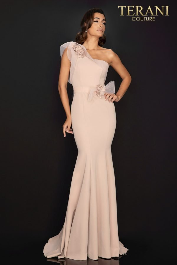 Style: One shoulder Satin evening gown with 3D flowers – 2011E2092