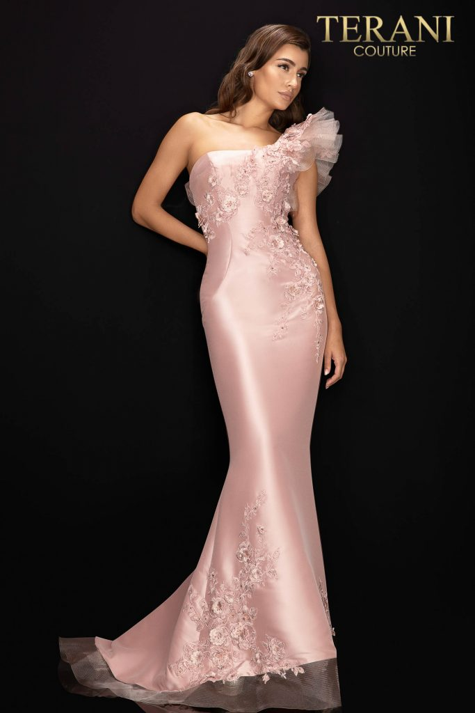 Style: Stretch Mikado one shoulder evening gown – 2011E2094