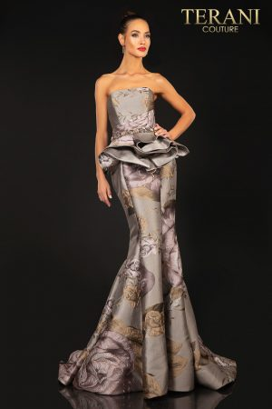 Strapless printed Jacquard evening gown with extended peplum – 2011E2097