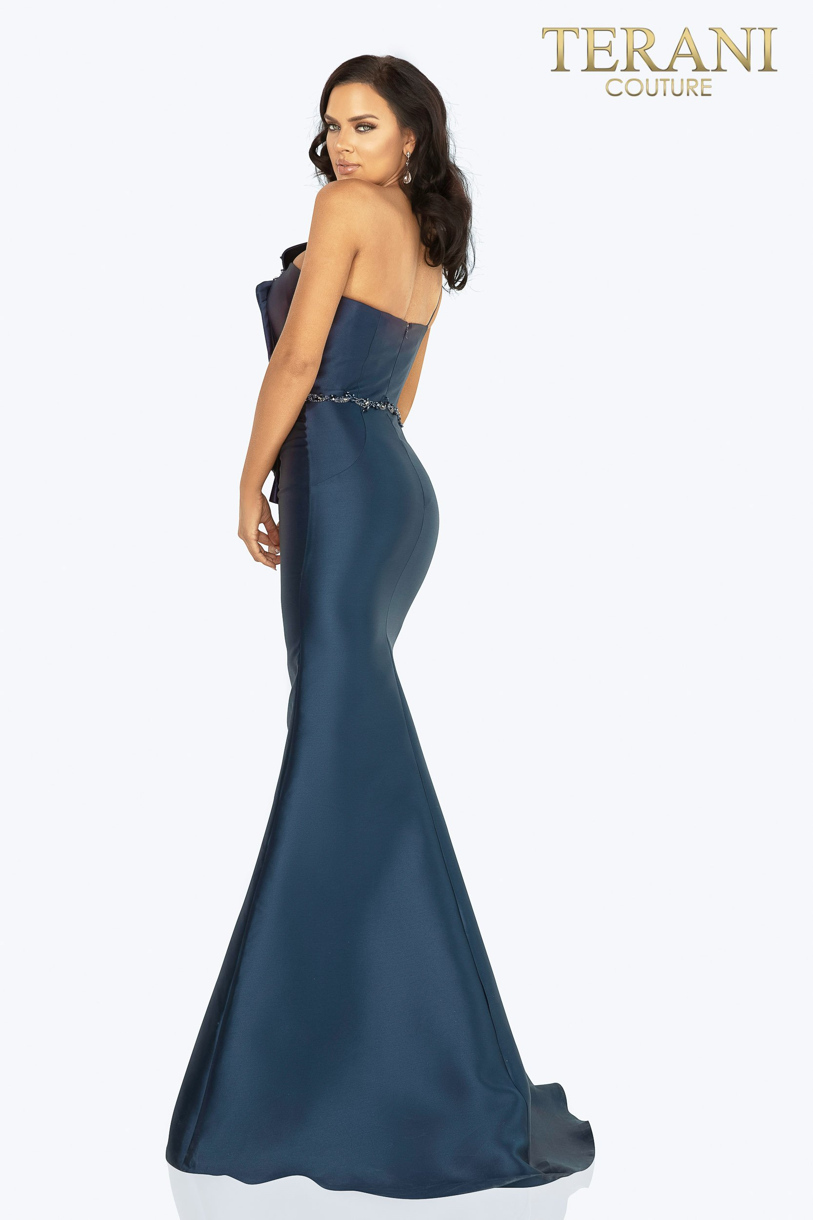 Style: Mikado one shoulder bead detailed evening gown with slit – 2011E2103