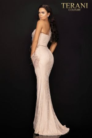 Sequin one shoulder evening gown with feather accent – 2011E2112