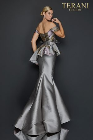 Off shoulder printed Jacquard trumpet evening gown – 2011E2425