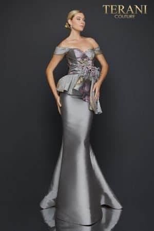 Off shoulder printed Jacquard trumpet evening gown – 2011E2425