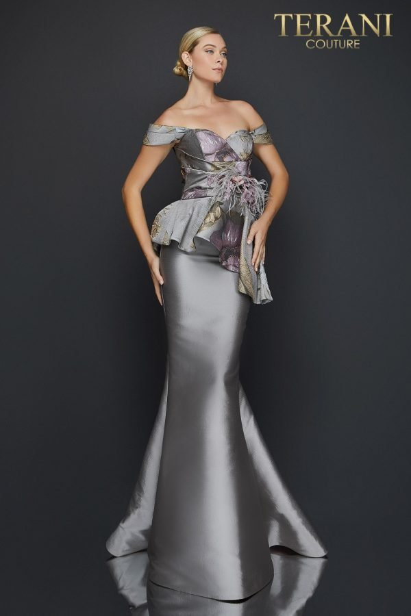 Off shoulder printed Jacquard trumpet evening gown - 2011E2425