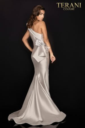 One shoulder Mikado gown with 3D flowers – 2011E2427