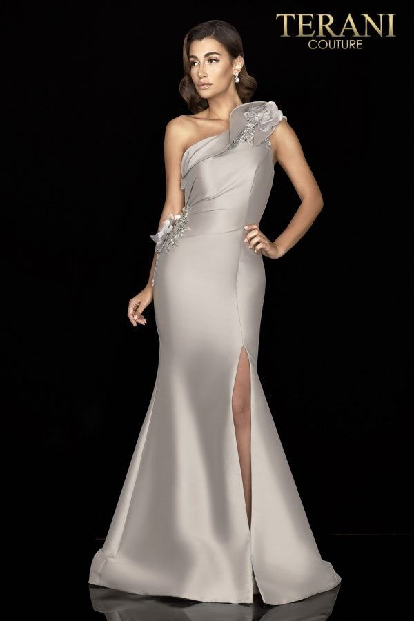 One shoulder Mikado gown with 3D flowers - 2011E2427