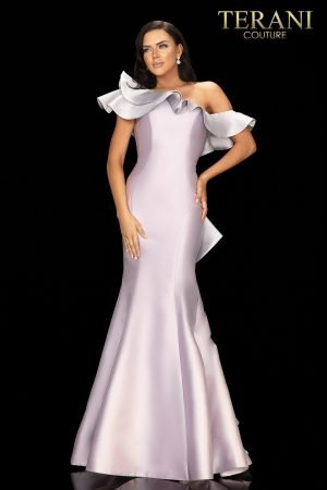 Two tone one shoulder ruffled evening gown – 2011E2428
