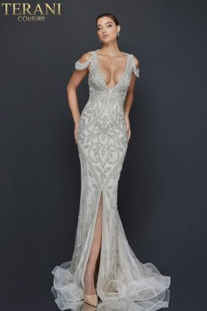 Cold shoulder heavily beaded pageant dress with center slit – 2011GL2174