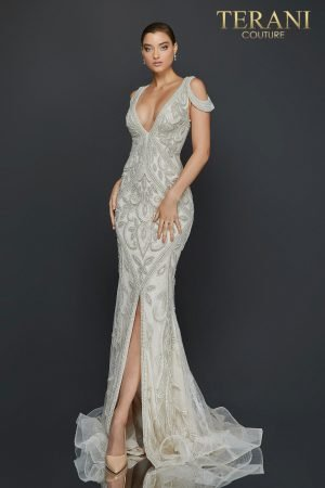 Cold shoulder heavily beaded pageant dress with center slit - 2011GL2174
