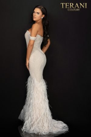 Sexy off shoulder pageant gown with pearls beading and feathered skirt – 2011GL2175
