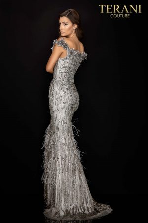 Regal 3D flower off shoulder gown with feathered hem – 2011GL2176
