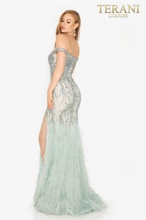 Stunning off shoulder beaded pageant gown with slit and feathered skirt – 2011GL2181
