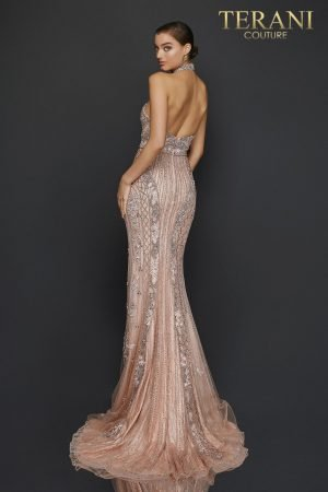 Halter neck beaded pageant gown with open back – 2011GL2182