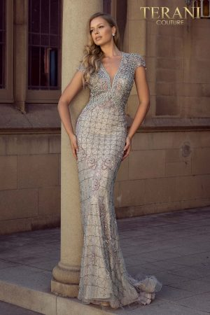 V - neckline full body bead detailed pageant gown - 2011GL2206