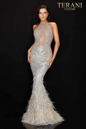 Halter neckline long beaded pageant dress with feather hem – 2011GL2211