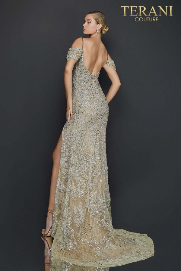 High slit off shoulder lace pageant gown - 2011GL2213