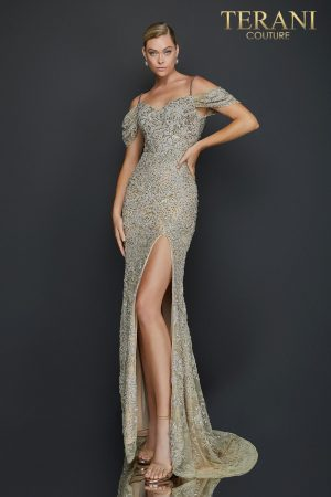 High slit off shoulder lace pageant gown – 2011GL2213