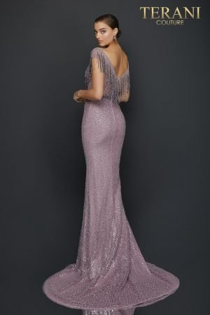 Beaded fringe ombre pageant gown with side slit – 2011GL2214