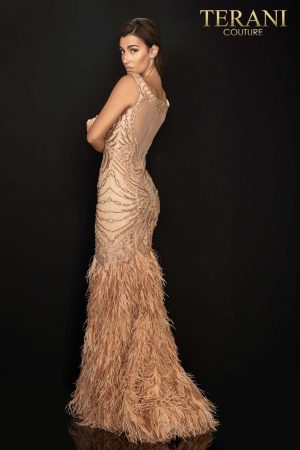 Fully beaded off shoulder pageant gown with feather trumpet skirt – 2011GL2221