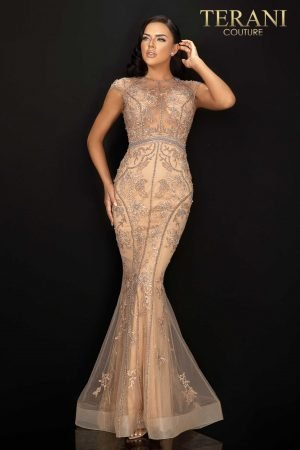 Sheer two tone beaded lace pageant gown – 2011GL2224