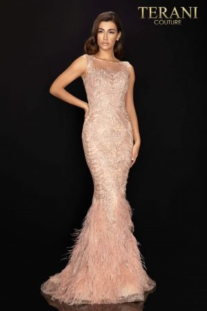 Regal sleeveless beaded pageant gown with feather skirt – 2011GL2415