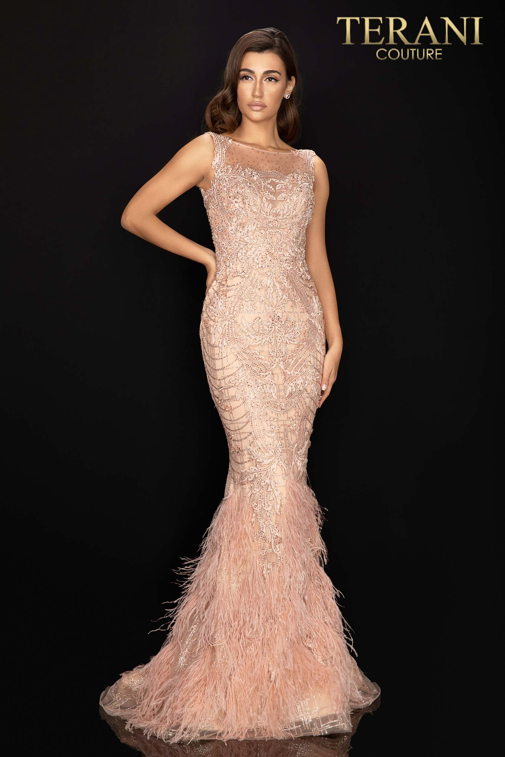 Style: Regal sleeveless beaded pageant gown with feather skirt – 2011GL2415