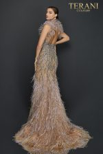 Feather halter neckline two tone beaded pageant dress - 2011GL2423