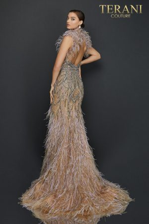 Feather halter neckline two tone beaded pageant dress – 2011GL2423