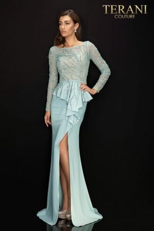 Long sleeve Mother of Bride gown with peplum – 2011M2116
