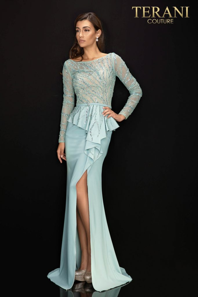 Style: 2011M2116 - Long sleeve Mother of Bride gown with peplum