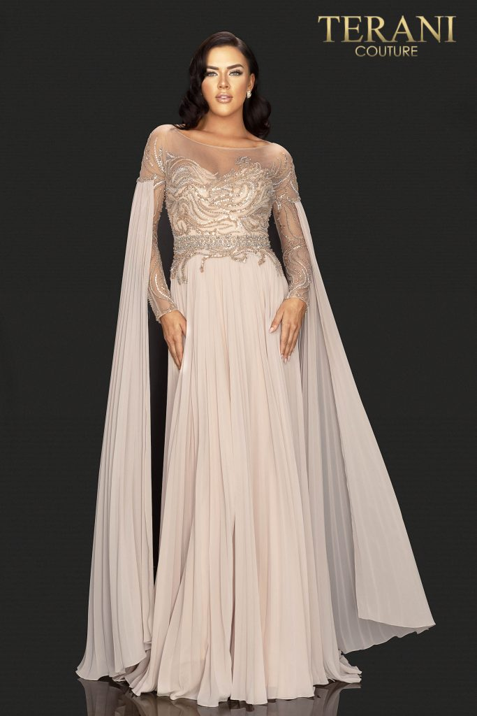 Style: Chiffon Mother of Bride pleated gown with floating long sleeve – 2011M2117