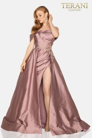 Draped off shoulder Taffeta Mother of bride gown with overskirt – 2011M2119