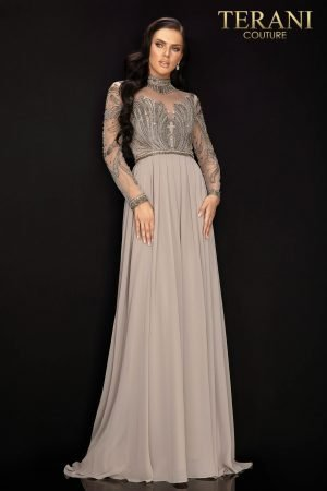 Long sleeve high neck beaded chiffon pleated skirt Mother of Bride dress – 2011M2126