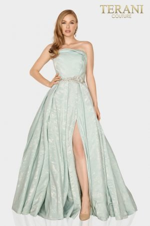 Strapless Suede fabric Mother of Bride gown with pleated slit skirt – 2011M2127