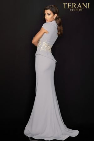 Double collar two piece Mother of Bride dress with lace detail – 2011M2135