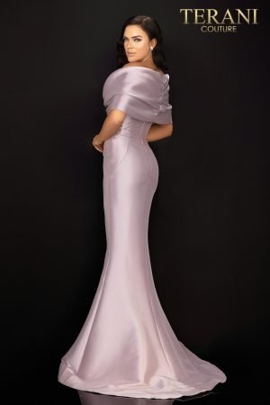 Mikado off shoulder Mother of Bride gown with capelet – 2011M2138