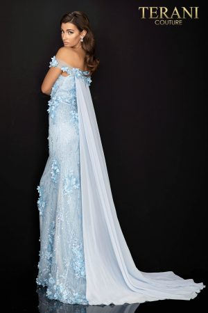 Sheer off shoulder floral Mother of Bride gown with Chiffon train – 2011M2142