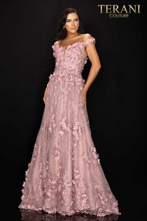 Long ball skirt off shoulder Mother of Bride gown with 3D flowers – 2011M2143