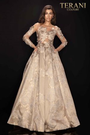 Applique flower long sleeve rose Jaquard Mother of Bride gown – 2011M2149