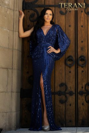 Elegant caped slim knit Mother of Bride dress with bead detail and a slit – 2011M2154