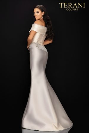 Two tone off shoulder Mikado Mother of Bride gown – 2011M2159