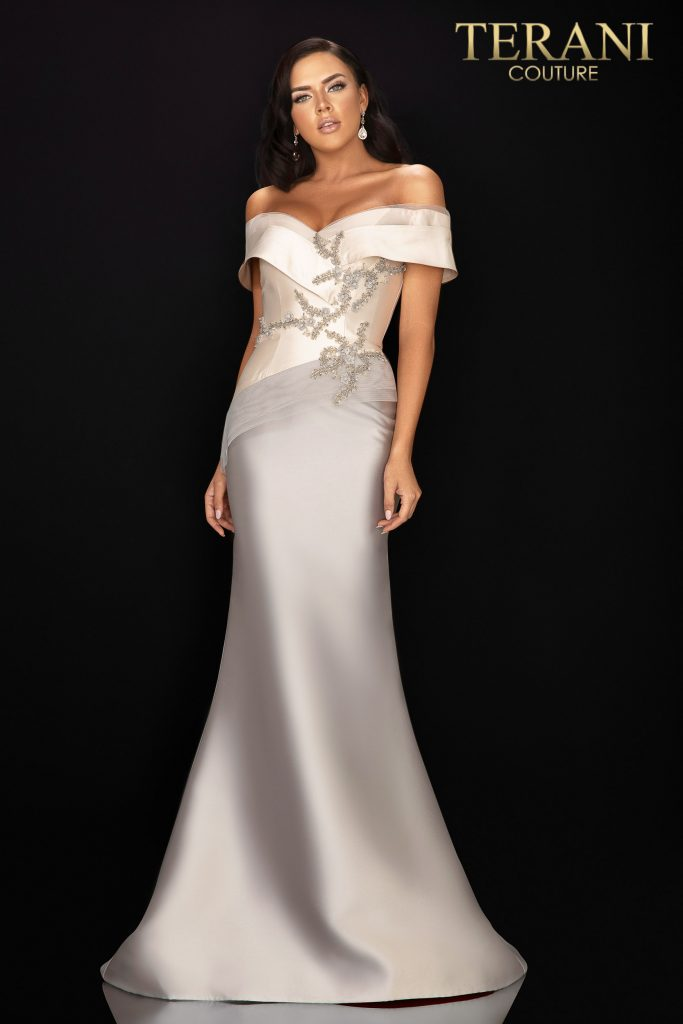 Two tone off shoulder Mikado Mother of Bride gown - 2011M2159