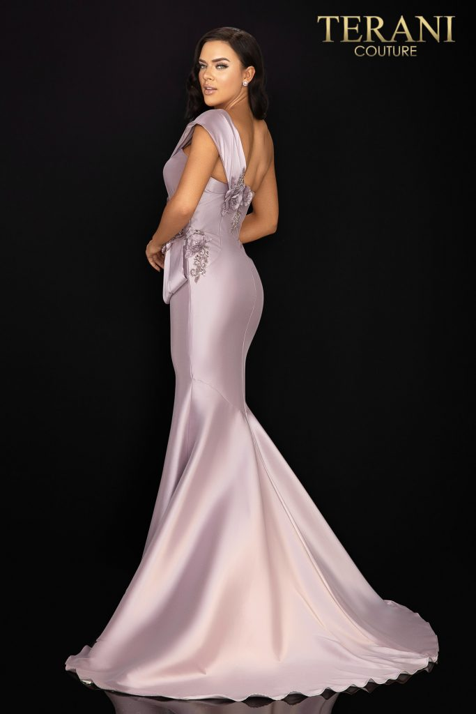 Style: One shoulder Mikado Mother of Bride gown with unique structure and beading – 2011M2160