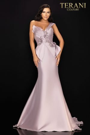 One shoulder Mikado Mother of Bride gown with unique structure and beading – 2011M2160