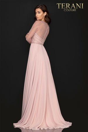Symmetrically long sleeve beaded Mother of Bride gown with Chiffon skirt – 2011M2164