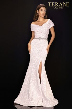 Jacquard Mother of Bride gown with pleated off shoulder collar – 2011M2168
