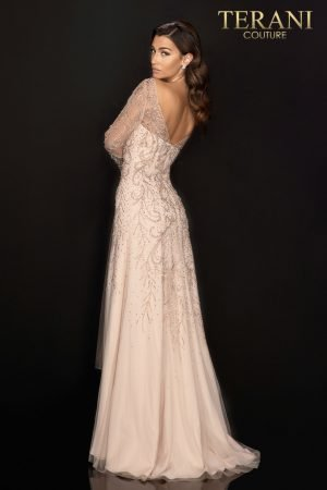 Long trumpet sleeve Mother of Bride gown with full beading – 2011M2169